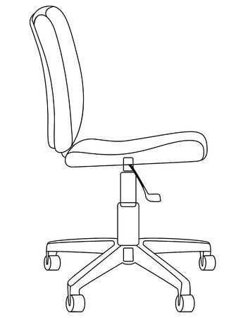 Computer chair, linear drawing. Vector illustration. Isolated on a white background Çizim