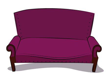 Old classic sofa in crimson velvet color. Illustration.