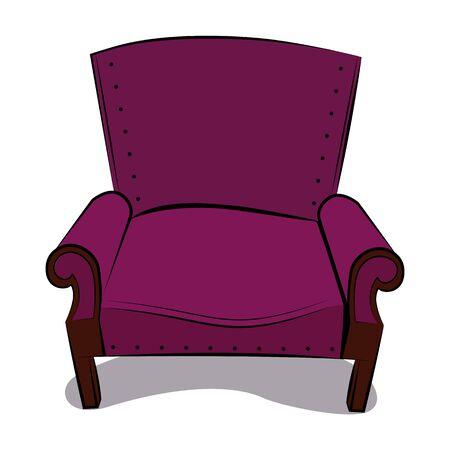Old classic armchair in crimson velvet color illustration.