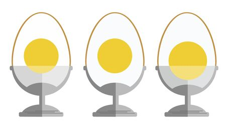 Set of 3 eggs in a stand. Flat design mages