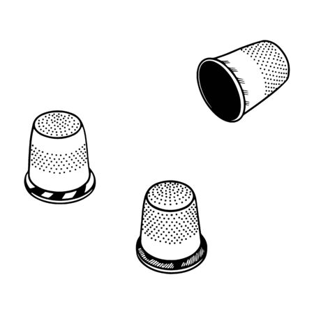 Set of three thimble. Line drawing. Illustration.