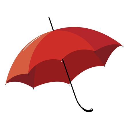 Opened red umbrella with a black handle. Illustration.