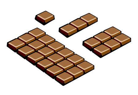 Chocolate bar and slices. Pop-art. Retro style illustration Stok Fotoğraf