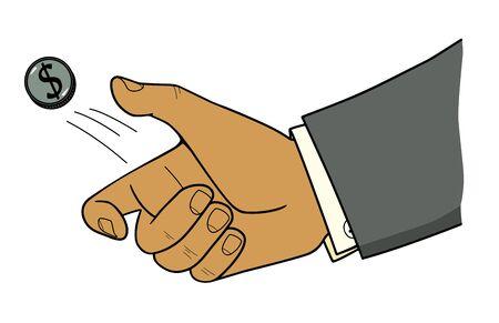Mans hand flips a dollar coin. Illustration