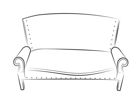 Old classic sofa. Line drawing. Illustration. Stok Fotoğraf