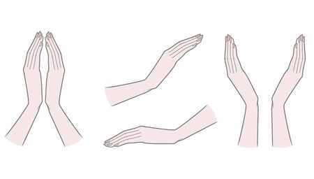 Female hands with folded fingers view from the little finger Thick outline. Gestures. Vector illustration