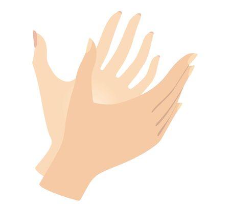 Set of female hands Gestures. Women hands. Vector illustration