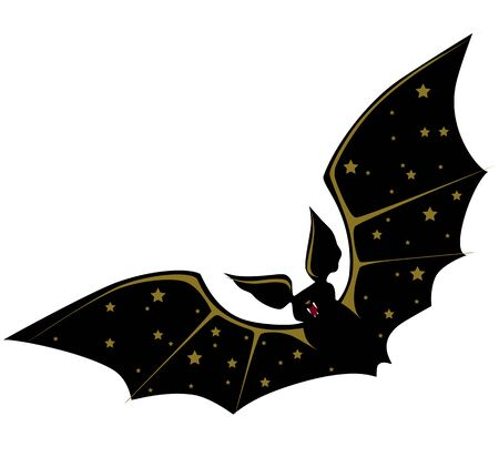 Black Bat with gold stars on the wings. Vector illustration