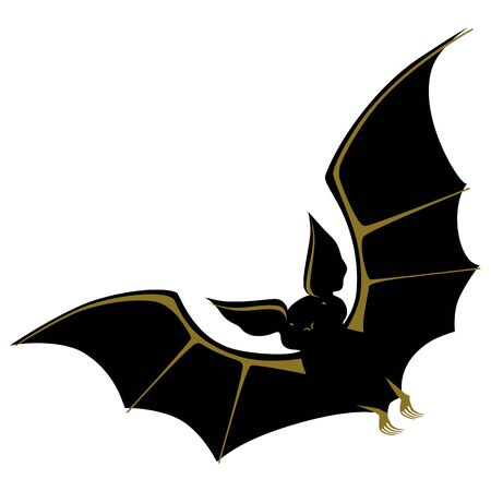 Black Bat with gold on the wings. Vector illustration