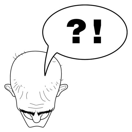 Head of a bald man top view. Woe from the mind. Tormenting thoughts. Questions and answers. Bald head and baldness. Vector humorous illustration. Illustration