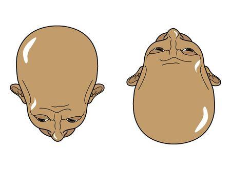 Template Head men top view. Vector illustration. Vettoriali