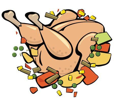 Chicken  with vegetables on lettuce leaves. Pop art. Retro style. Vector illustration