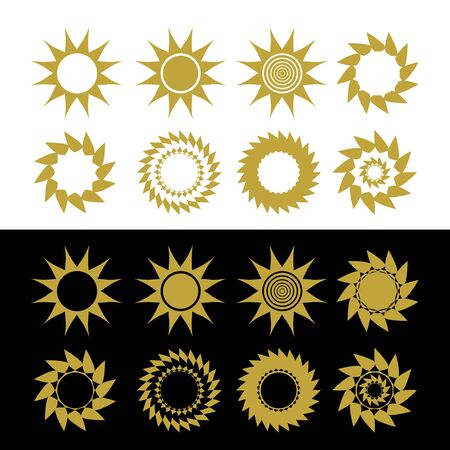 Set of solar sign design. The sun. Silhouette. Vector illustration