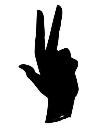 Stylization drawing of a man's hand with three bent fingers. Silhouette. Vector illustration Banque d'images - 138357833