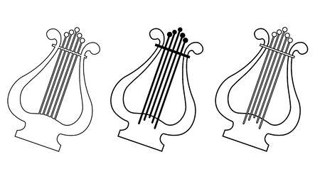 Lyra string instrument. Line drawing. Vector illustration Vectores