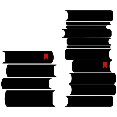 Two piles of books with bookmarks. Vector illustration