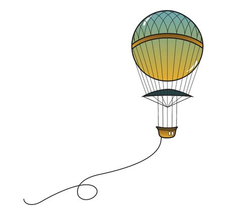 Vintage balloon with a gondola. Line drawing. Vector illustration