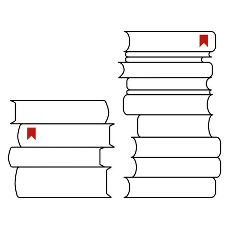 Two piles of books with bookmarks. Line drawing. Vector illustration