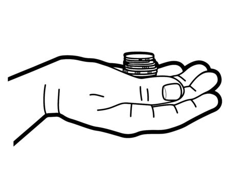 Mans hand holds a stack of coins. Line graphics. Vector illustration