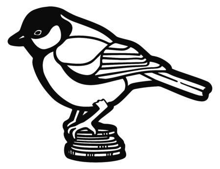 bird tit sits on a stack of coins. Line graphics. Vector illustration Ilustração