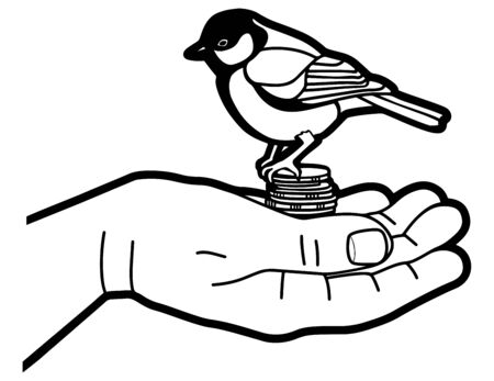 Bird tit and money in the hand of a man. Catch luck. Line graphics. Vector illustration