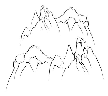 Linear graphic image of a cliff. Mountain silhouette. Vector illustration