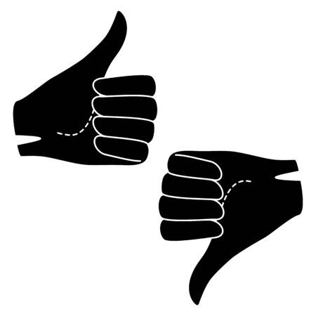 Set Hand fist in glove with raised and lowered thumb. Vector silhouette illustration. Vectores