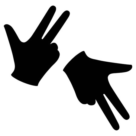 Set Hand in a glove with three extended fingers. Sign. Vector linear silhouette illustration.