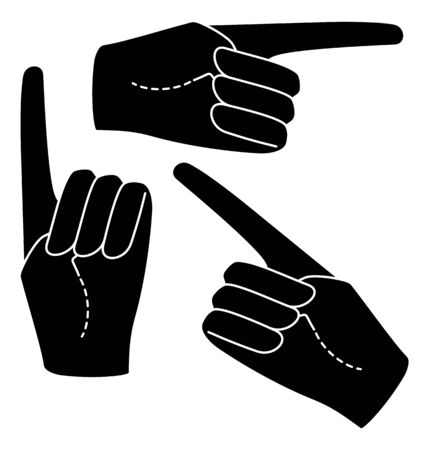 Set Hand in a glove with five extended fingers. Palm. Sign. Vector linear silhouette illustration.