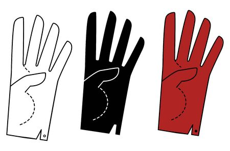 Set Hand in a glove with four extended fingers. Sign. Vector linear silhouette illustration. Vectores
