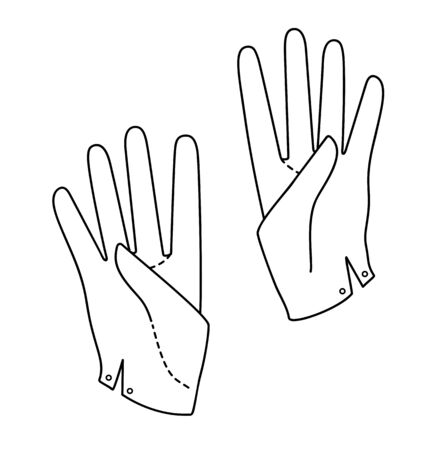 Set Hand in a glove with four extended fingers. Sign. Vector linear silhouette illustration. Çizim