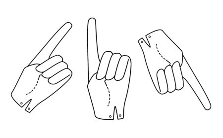 Set Hand in a glove with a raised index finger. Sign. Vector linear silhouette illustration.