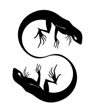 """Silhouette of a lizard as letter """"S"""". Tattoo Ilustração Vetorial"""