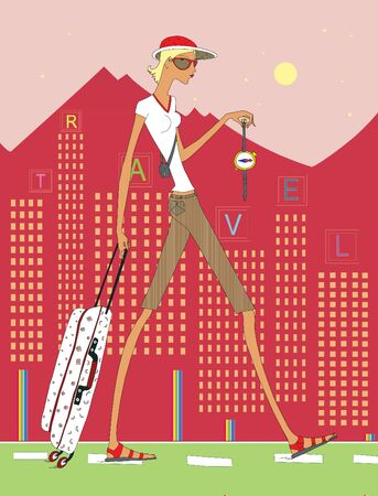 Travel and adventure search. Girl in road clothes with a suitcase and a compass in her hands. Humorous illustration 版權商用圖片