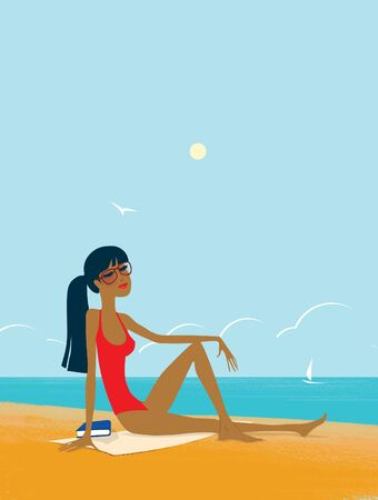 Tanned brunette in a red bathing suit sits on the sand. Sultry noon on the beach. Seagull, sailboat and clouds. 版權商用圖片
