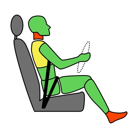 Template figure man sitting in a car driver. Crash test. Sign. Profile view. Illustration 版權商用圖片