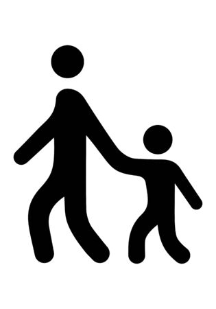 Sign symbol adult leads the child by the hand. Pedestrians. Illustration.