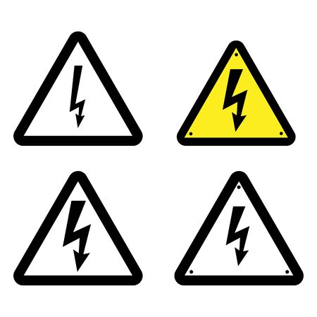 Symbol electricity. Triangular black icon of electricity. Power outage. Warning logo. Caution. Ð¡oncept  electricity.  High voltage