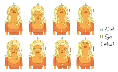Exercises for training the vestibular apparatus. The girl tilts her head, opens her eyes and mouth.
