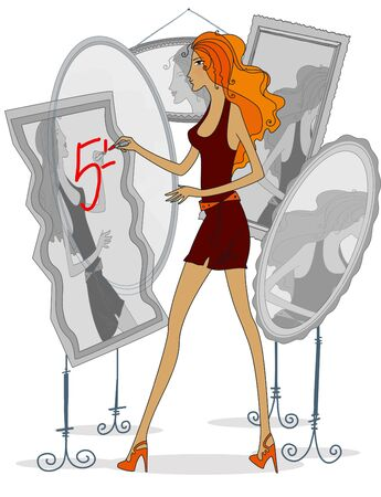 Curved mirrors. Self-criticism. Red-haired woman paints lipstick on the mirror. Isolated on a white background