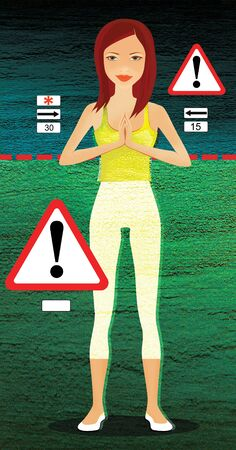 Fitness exercises and weight loss. Girl is standing at the warning signs 版權商用圖片