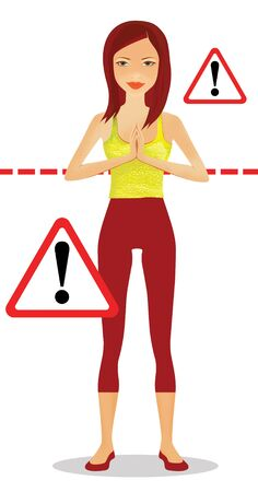 Fitness exercises and weight loss. Girl is standing at the warning signs. Isolated on a white background 版權商用圖片 - 148915588