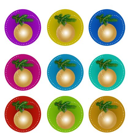 Set of stickers with a golden Christmas ball on a fir branch. Isolated on a white background. 版權商用圖片 - 148915608