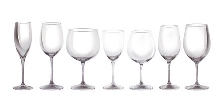 Set of glasses for wine. 3d Illustration. Isolated on a white background 版權商用圖片 - 150097455