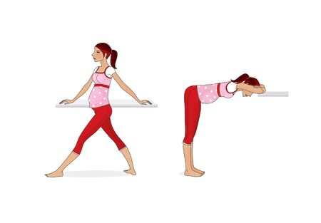 Yoga for pregnant women. Exercises at home. A pregnant woman is training. Isolated on a white background.