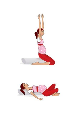 Yoga for pregnant women. Exercises at home. A pregnant woman is training. Isolated on a white background. 版權商用圖片 - 150097464