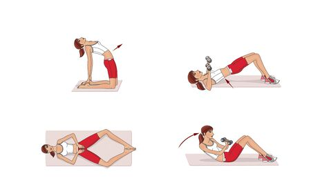 Girl is training at home. Stretching the muscles of the legs and spine. Exercises and gymnastics. Isolated on a white background 版權商用圖片