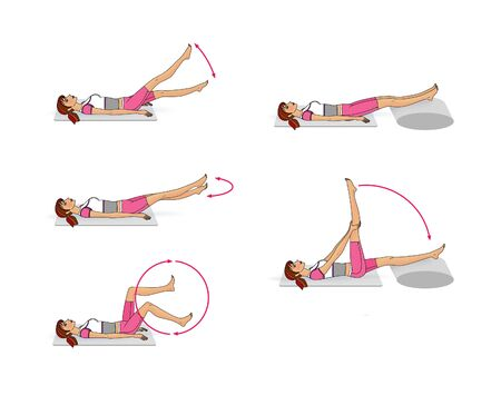 Girl is training at home. Abdominal muscles, buttocks, legs. Exercise scissors and bike. Isolated on a white background 版權商用圖片 - 150097601