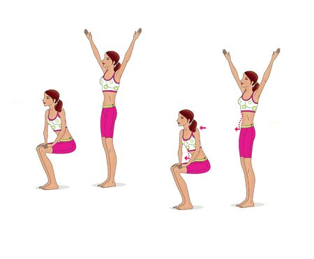 Girl is training at home. Stretching the muscles of the hands, legs and spine. Exercises and gymnastics. Isolated on a white background