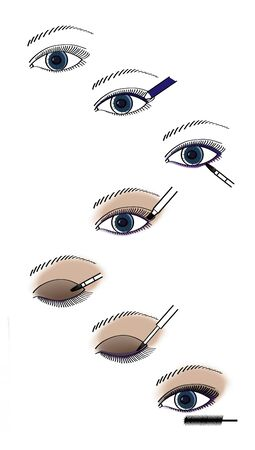 Manual for applying make-up on the eyes is a smoky look. Illustration. 版權商用圖片 - 150097610
